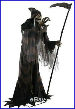 HALLOWEEN ANIMATED LED LIFESIZE JUMPING THRUST REAPER With SCYTHE HAUNTED HOUSE