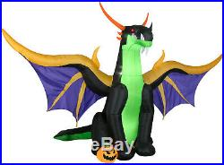HALLOWEEN DRAGON WITH WINGS Inflatable airblown 12 FT WIDE 8 FT TALL