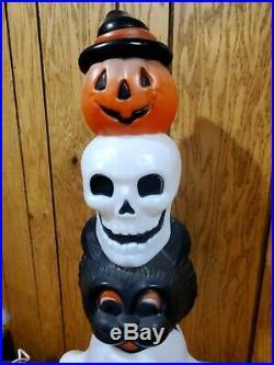 HTF Halloween BlowMold Totem Stack Pumpkin Cat Skull & Ghost Lighted Plastic 32