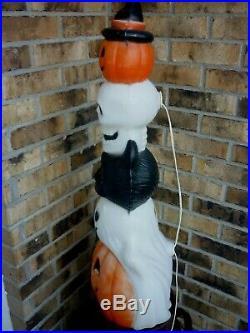 HTF Halloween Blow Mold Totem Stack Pumpkin Cat Skull Ghost Lighted Plastic 32