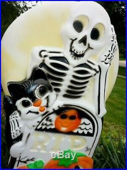 HTF Sun Hill Skeleton Tombstone Black Cat & JOL BlowMold Kid Friendly Halloween