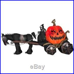 Halloween 14 Ft Fire & Ice Grim Reaper Carriage Sound Lights Inflatable Airblown