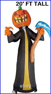 Halloween 20 FT Pumpkin Reaper with AXE Airblown Inflatable Yard Decor Prop