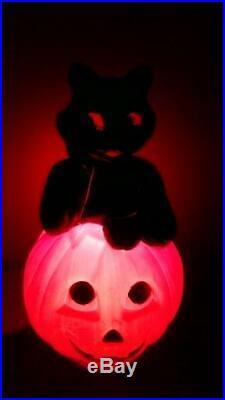 Halloween 35 Black Cat on Pumpkin Lighted Blow Mold General Foam Yard Decor