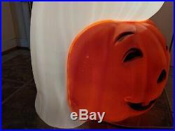 Halloween 35 Happy Ghost Sitting On Pumpkin Lighted Blow Mold, Yard Decoration