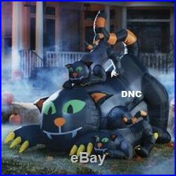 Halloween 6FT x 6 FT Black Cat & 2 Kitties airblown Inflatable lighted Haunted