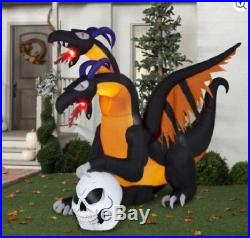 Halloween Airblown Inflatable 7 ft. X 8.5 ft Two Headed Dragon Flaming Mouth
