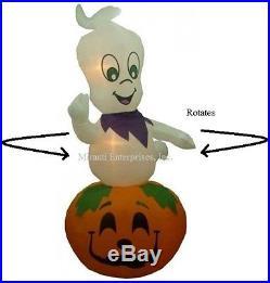 Halloween Airblown Inflatable 9FT Tall ANIMATED Ghost on pumpkin Rotates NIB