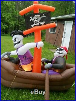 Halloween Airblown Inflatable Pirate Ship Yard Decor Totally Ghoul Over 7' Long