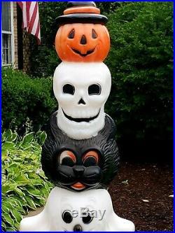 Halloween Blow Mold Lrg. Totem Stack Pumpkin Cat Skull & Ghost Lighted Plastic