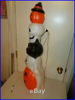 Halloween Blow Mold Totem Stack Pumpkin Cat Skull Ghost Lighted Empire 32