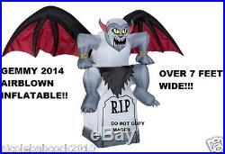 Halloween Gargoyle On Tombstone Lighted 7 Feet Wide Yard Prop Decor