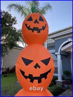 Halloween Gemmy 12 ft Giant Orange Pumpkin Stack Jack o Lantern Inflatable NEW