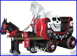 Halloween Horse Pulling Skull Carriage Airblown Inflatable Prop Yard