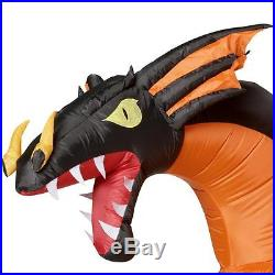 Halloween Huge Animated 2 Headed Dragon Projection Inflatable Airblown 11 Ft