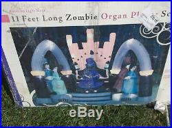 Halloween Inflatable 11' Zombie Organ Player Scene with Dancers