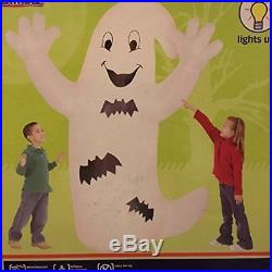 Halloween Inflatable 8' Happy Smiling Ghost With Bats By Gemmy