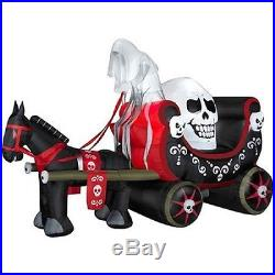 Halloween Inflatable Giant Horse Pulling Skull Carriage Prop Yard Decor By Gemmy