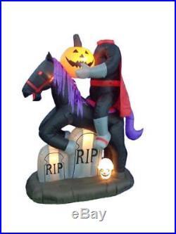 Halloween Inflatable Headless Horseman Pumpkin WithTombston 7Ft Lawn Yard Decor