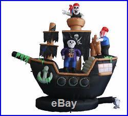 Halloween Inflatable Yard Air Blown Decoration Skeleton Crews on Pirate Ship