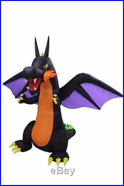 Halloween Lighted Air Blown Inflatable Party Blowup Decoration Fire Wing Dragon