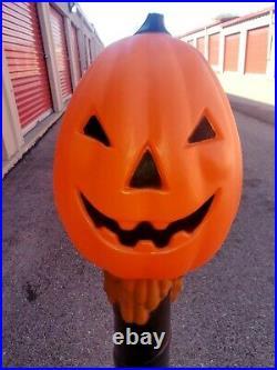 Halloween Lighted Blow Mold Pumpkin Jack O Lantern Post TPI