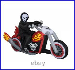 Halloween Lighted Grim Reaper Flaming Motorcycle Self-Inflatable Yard Decor