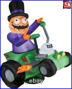 Halloween Pumpkin Man Hot Rod Car Inflatable Airblown Yard Decoration