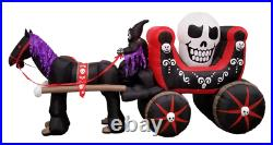Halloween Self-Inflatable Carriage with Huge Skull Outdoor Decoration Includes L
