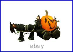 Halloween Self-Inflatable Skeleton Ghost Driving Carriage with Internal Lighting