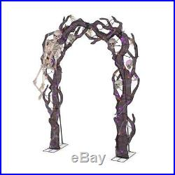 Halloween Skeleton Arch 102 in. Orange Purple 105 LED Indoor Outdoor Decoration