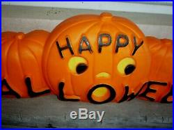 Happy Halloween Blow Mold Pumpkin Lateral JOLs with Dual Lights Featherstone 33