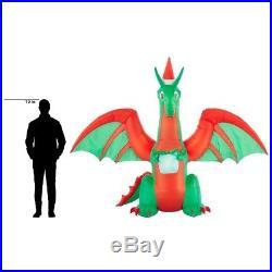 Inflatable Christmas Dragon.Inflatable Christmas Dragon With Flaming Mouth And Present 8
