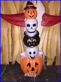 LAST New Halloween 32 Pumpkin, Skull, Black Cat & Ghost Totem Blow Mold Decor