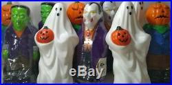 LOT 10 VINTAGE Halloween BLOW MOLD 1995 General Foam Light Toppers Pumpkin Ghost