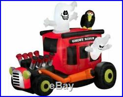 Lighted Inflatable Airblown Animated Ghost Rider Hot Rod Halloween Yard Decor