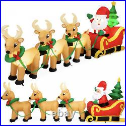 Lighted Inflatable Santa Claus and Reindeer Christmas Decoration 9ft