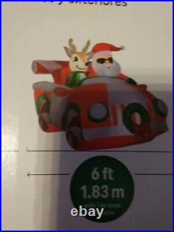 NEW 6' airblown roadster car Santa reindeer Christmas lights up inflatable Gemmy