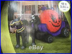 NEW GEMMY 12' Halloween Lighted AirBlown Inflatable Fire & Ice Reaper Carriage
