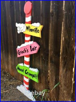 NEW GRINCH Whoville Sign Pole CHRISTMAS Lawn Yard Art Decoration Decor