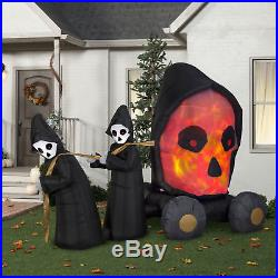 NEW Projection Airblown Inflatable Skull Coach Scene Halloween 9ft Decorations
