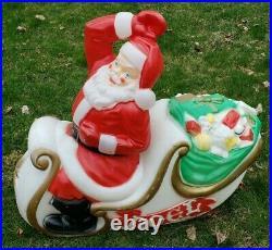 NJ PICKUP Vintage Empire Santa Claus Sleigh Blowmold Reindeer Sled Blow Mold
