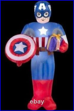 New 6 Ft Tall Marvel Christmas Captain America Shield Present Inflatable Gemmy