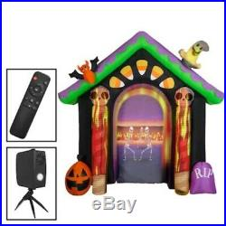 New -8'7 Haunted House Halloween Inflatable Light-show Projector by Gemmy