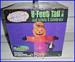New 8 Ft. Pumpkin Scarecrow Gemmy Airblown Inflatable Light