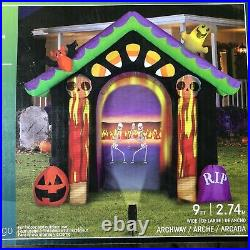 New 9Ft Gemmy Haunted House Projection Halloween Inflatable RIP Pumpkin Skeleton