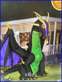 New 9 Ft Gemmy Red Eyed Dragon Fire Ice Animated Inflatable Airblown Halloween