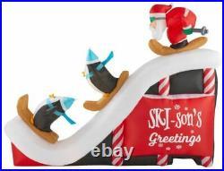 New! Gemmy Airblown 9 ft. Width Inflatable Santa Ski Scene Penguins Christmas