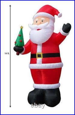 New Giant 14 Ft Tall Led Christmas Waving Santa Claus With Tree Gemmy Inflatable