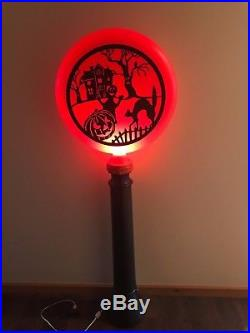 New Vtg Union 44 Halloween Scary Scene Lighted Blow Mpold Silhouette Lamp Post